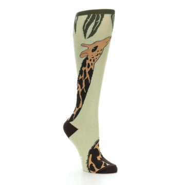 Image of Tan Brown Giraffe Women's Knee High Socks (side-1-26)