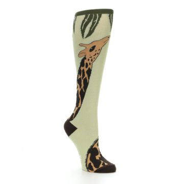 Image of Tan Brown Giraffe Women's Knee High Socks (side-1-27)