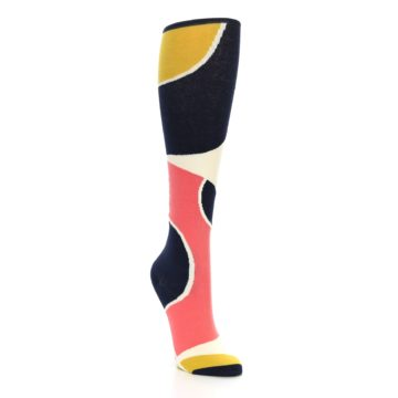 Image of Coral Navy Artist Pattern Women's Knee High Socks (side-1-front-02)