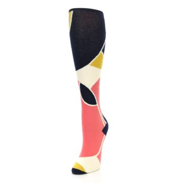 Image of Coral Navy Artist Pattern Women's Knee High Socks (side-2-front-07)