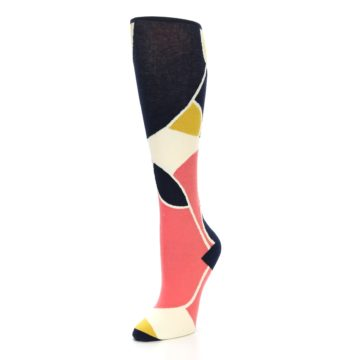 Image of Coral Navy Artist Pattern Women's Knee High Socks (side-2-front-08)