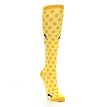 Image of Yellow Bees Women's Knee High Socks (side-1-front-02)