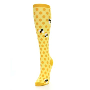Image of Yellow Bees Women's Knee High Socks (side-2-front-07)