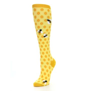 Image of Yellow Bees Women's Knee High Socks (side-2-front-08)