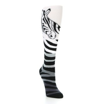 Image of White Grey Black Zebra Women's Knee High Socks (side-1-front-02)