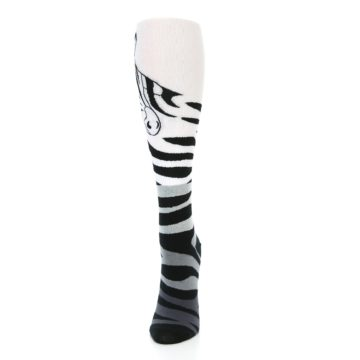 Image of White Grey Black Zebra Women's Knee High Socks (side-2-front-06)