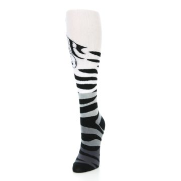 Image of White Grey Black Zebra Women's Knee High Socks (side-2-front-07)