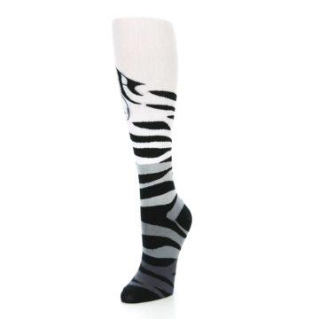 Image of White Grey Black Zebra Women's Knee High Socks (side-2-front-08)