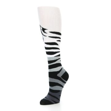 Image of White Grey Black Zebra Women's Knee High Socks (side-2-09)