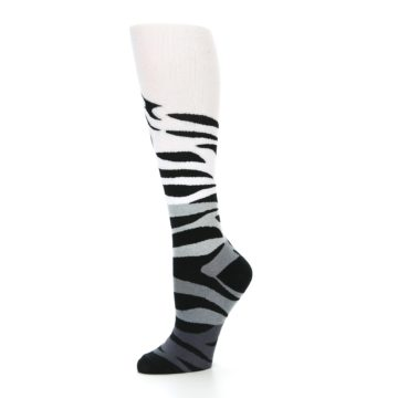 Image of White Grey Black Zebra Women's Knee High Socks (side-2-10)