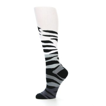 Image of White Grey Black Zebra Women's Knee High Socks (side-2-11)