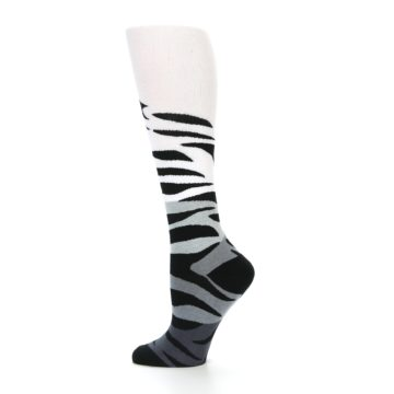 Image of White Grey Black Zebra Women's Knee High Socks (side-2-12)