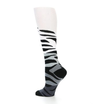 Image of White Grey Black Zebra Women's Knee High Socks (side-2-13)