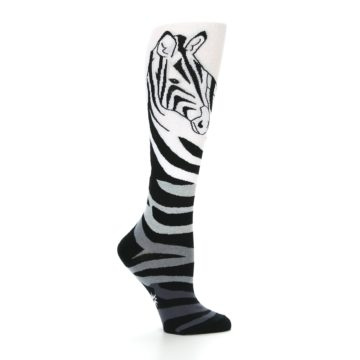 Image of White Grey Black Zebra Women's Knee High Socks (side-1-25)