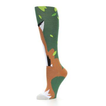 Image of Green Orange Fox Women's Knee High Socks (side-2-10)