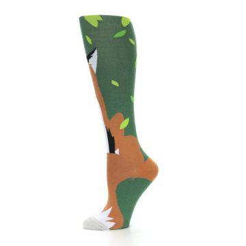 Image of Green Orange Fox Women's Knee High Socks (side-2-11)