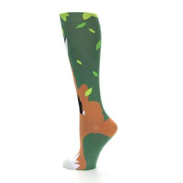 Image of Green Orange Fox Women's Knee High Socks (side-2-13)