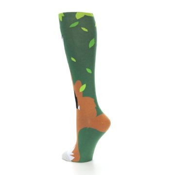 Image of Green Orange Fox Women's Knee High Socks (side-2-back-14)