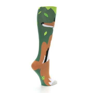 Image of Green Orange Fox Women's Knee High Socks (side-1-23)