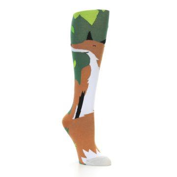 Image of Green Orange Fox Women's Knee High Socks (side-1-27)
