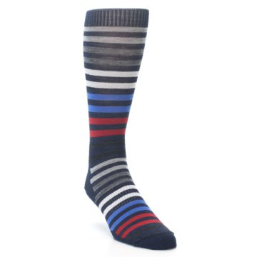 Image of Navy Red Stripe Wool Men's Casual Socks (side-1-front-02)