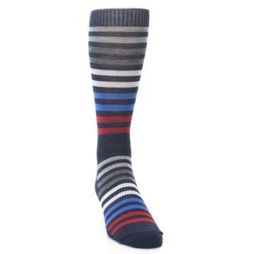 Image of Navy Red Stripe Wool Men's Casual Socks (side-1-front-03)
