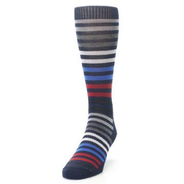 Image of Navy Red Stripe Wool Men's Casual Socks (side-2-front-06)