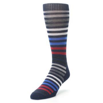 Image of Navy Red Stripe Wool Men's Casual Socks (side-2-front-07)