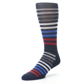 Image of Navy Red Stripe Wool Men's Casual Socks (side-2-front-08)