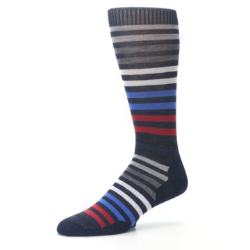 Image of Navy Red Stripe Wool Men's Casual Socks (side-2-09)