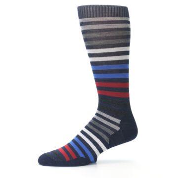 Image of Navy Red Stripe Wool Men's Casual Socks (side-2-10)