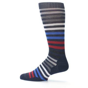 Image of Navy Red Stripe Wool Men's Casual Socks (side-2-12)