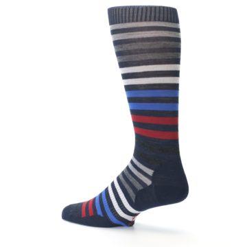 Image of Navy Red Stripe Wool Men's Casual Socks (side-2-13)