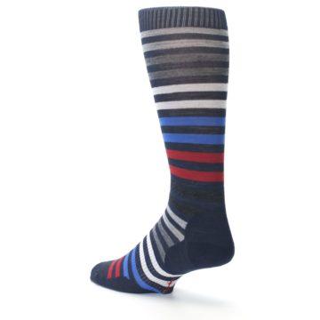 Image of Navy Red Stripe Wool Men's Casual Socks (side-2-back-14)