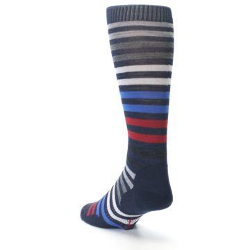 Image of Navy Red Stripe Wool Men's Casual Socks (side-2-back-15)