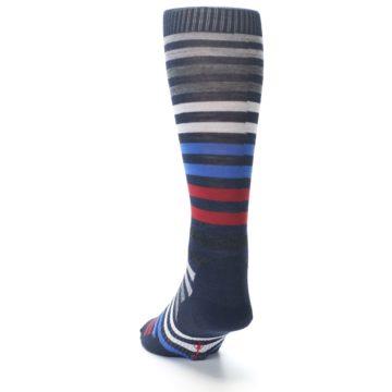 Image of Navy Red Stripe Wool Men's Casual Socks (side-2-back-16)