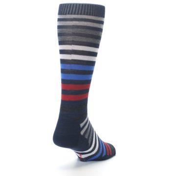Image of Navy Red Stripe Wool Men's Casual Socks (side-1-back-20)
