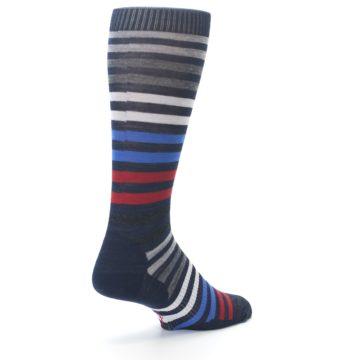 Image of Navy Red Stripe Wool Men's Casual Socks (side-1-back-21)