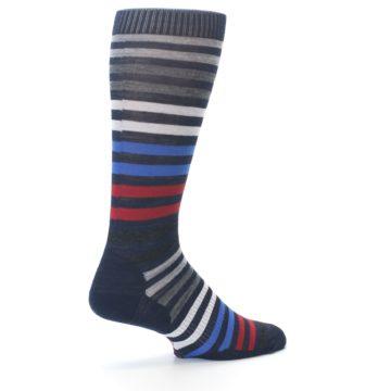 Image of Navy Red Stripe Wool Men's Casual Socks (side-1-back-22)