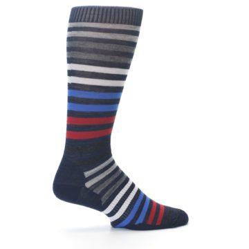 Image of Navy Red Stripe Wool Men's Casual Socks (side-1-23)