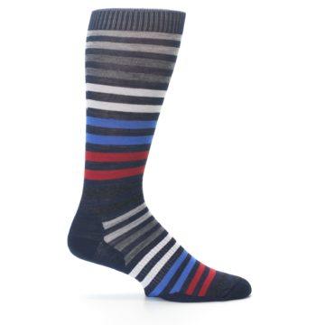 Image of Navy Red Stripe Wool Men's Casual Socks (side-1-24)