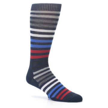 Image of Navy Red Stripe Wool Men's Casual Socks (side-1-25)
