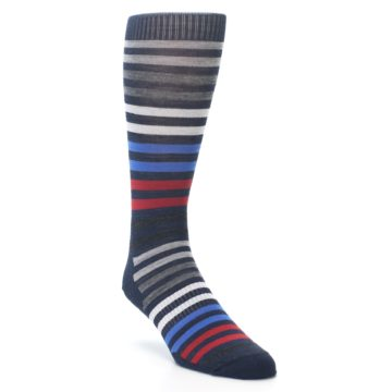Image of Navy Red Stripe Wool Men's Casual Socks (side-1-27)