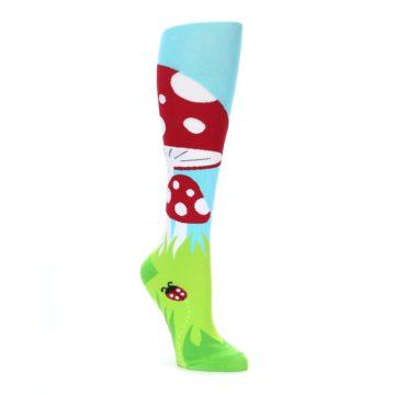 Green, red, blue and white toadstool mushroom women's knee high socks