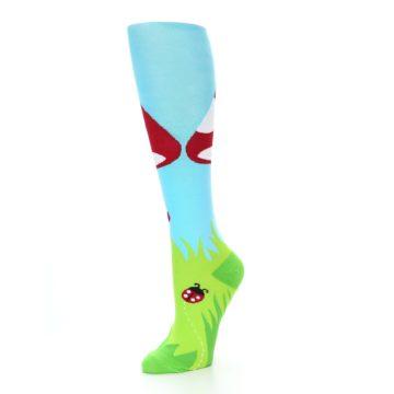 Image of Green White Red Toadstool Women's Knee High Socks (side-2-09)