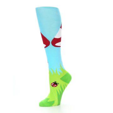 Image of Green White Red Toadstool Women's Knee High Socks (side-2-10)