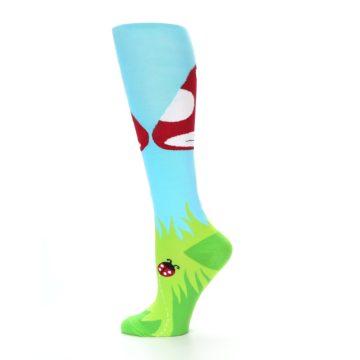 Image of Green White Red Toadstool Women's Knee High Socks (side-2-12)