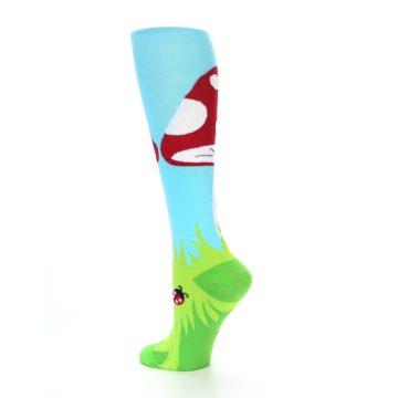 Image of Green White Red Toadstool Women's Knee High Socks (side-2-back-14)
