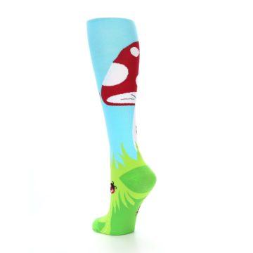 Image of Green White Red Toadstool Women's Knee High Socks (side-2-back-15)