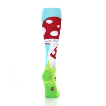Image of Green White Red Toadstool Women's Knee High Socks (side-1-back-20)